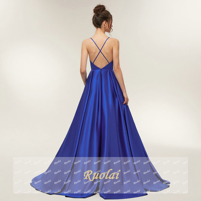 Royal Blue Sexy Prom Dresses 2019 Long Girl Satin Spaghetti Strap Evening Dress Long Gown Open Back Party Dresses Robe De Soiree 1