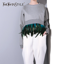 TWOTWINSTYLE Patchwork Removable Feather Sweatshirt Women Long Sleeve Pullover Crop Tops Female Casual Clothes 2019 Autumn New
