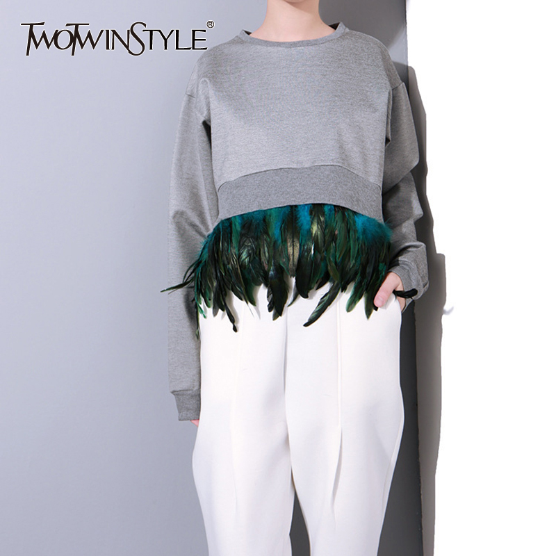 TWOTWINSTYLE Patchwork Removable Feather Sweatshirt Women Long Sleeve Pullover Crop Tops Female Casual Clothes 2020 Autumn New