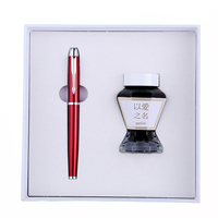 Luxury Gold/Silver Fountain Pen Ink Set 0.5mm Business Office Writing Pens with Gift Box High end Christmas Gift for Friends