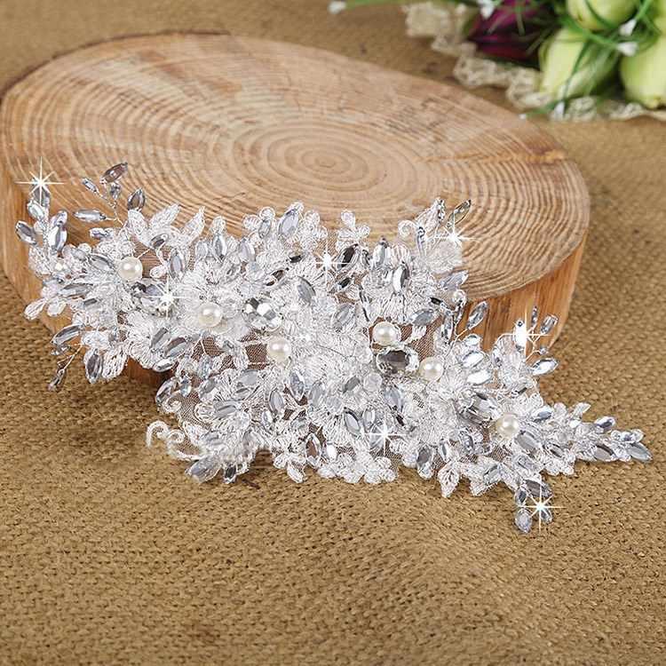 תחרה בעבודת יד חתונה גביש אביזרי שיער כלה פנינת יהלומים מלאכותיים נזר חתונה תכשיטי שיער סרט