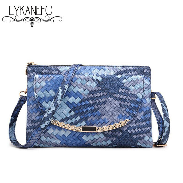 Colorful Knitting Handbags Women Messenger Bags Envelope Clutches Women Purse and Handbag with Long Strap Over Shoulder Bag