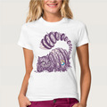 Track Ship + T-shirt Top Tee Big Purple Tooth Ghost Cheshire Cat Alice Alice's Adventure in Wonderland Forest women t shirt