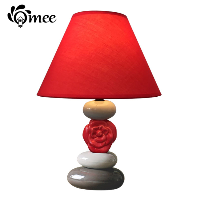 Red Rose Ceramic Table Lamp Holder LED Bulb Ceramics Creative Desk Lights ,  Elegant Festive Bed