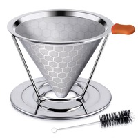 Honeycombed Stainless Steel Coffee Filter, Reusable Pour Over Coffee Filter Cone Coffee Dripper with Removable Cup Stand