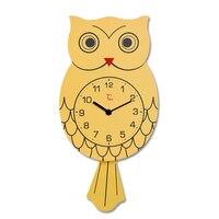 Wooden Pendulum Clock Cute Vintage Owl Clock Wall Watch Watches Kids Wall Clock Modern Design Wandklok Living Room Decoration583