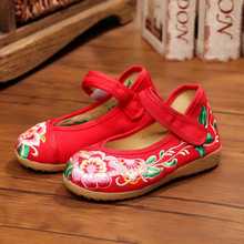 New chinese style fashion beautiful embroidery candy color child canvas flats shoes dance shoes for children foot length 15-21cm