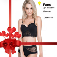 Fans Discount Sexy Mousse half cup Padded Lace Bra Sets Seamless Push up Bras White Black Sexy Lingerie Gathering france bras