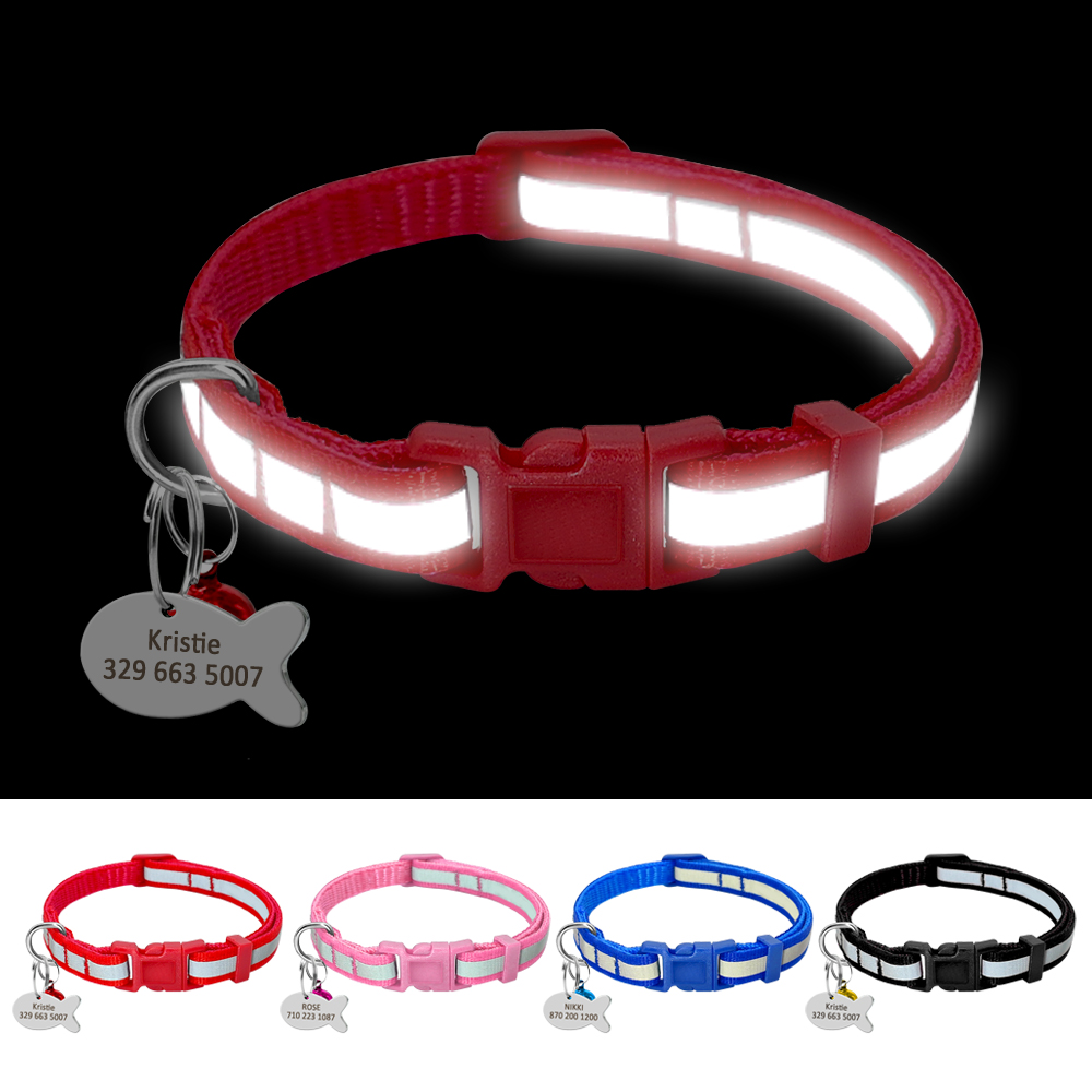 Reflective Cat Dog Collar Personalized Nylon Cat Dog Collars Puppy Customized Collar Red Blue Black Pink