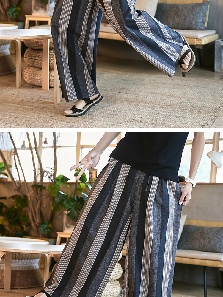 Sinicism Store Man Cotton Linen Wild Leg Pant Men Casual Stripe Straight Flare Trousers 2020 Male Traditional Pants Trousers 42