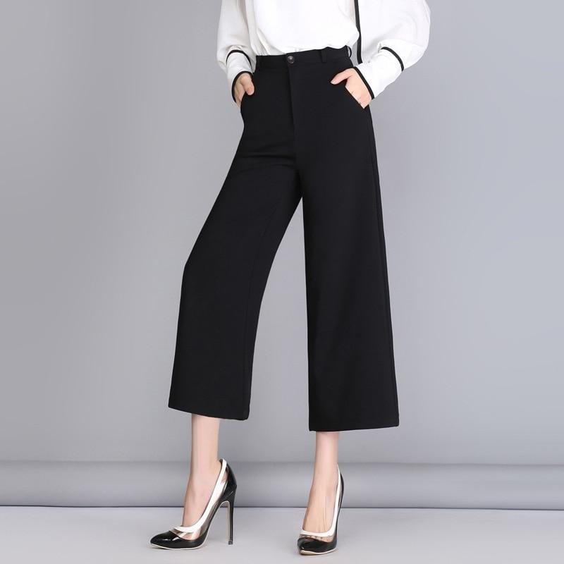 2018 Summer Style Women   Pants     Capris   Woman Solid Color Mid Flat Wide Leg   Pants   Office Uniform Ankle-Length   Pants   5 Size Fashion