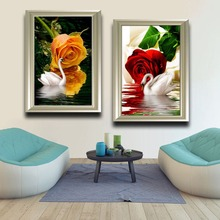 2017 New Arrivals Swans And Rose Pattern Full Diamond Painting Modern Style Living Room Decorative Round Diamond Paintings 40*60