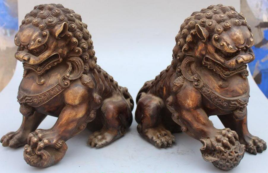 Chinese Bronze Guardian Foo Fu Dog Phylactery Door Lion Ball Kid Pair Statue,Size: Height 11.0 inch .Long 11.0 incFree shipping