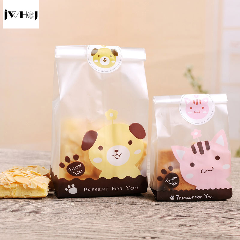 25pcs/lot Cute Dog&bear Adhesive Bag Or Sticker,cookies Diy Gift Bags For Birthday Party Candy Food&Handmade Soap Packaging Bags