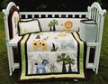 3D Embroidery lion elephants forest animals Quilt Bumper Cushion Pillow Baby Crib Bedding Set 4 Item cotton Baby bedding set