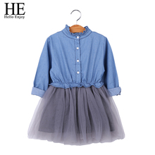 HE Hello Enjoy Girl Denim Dresses Spring Autumn kids Dresses for Girls Toddler Long Sleeve Mesh Princess Dress Children Clothing