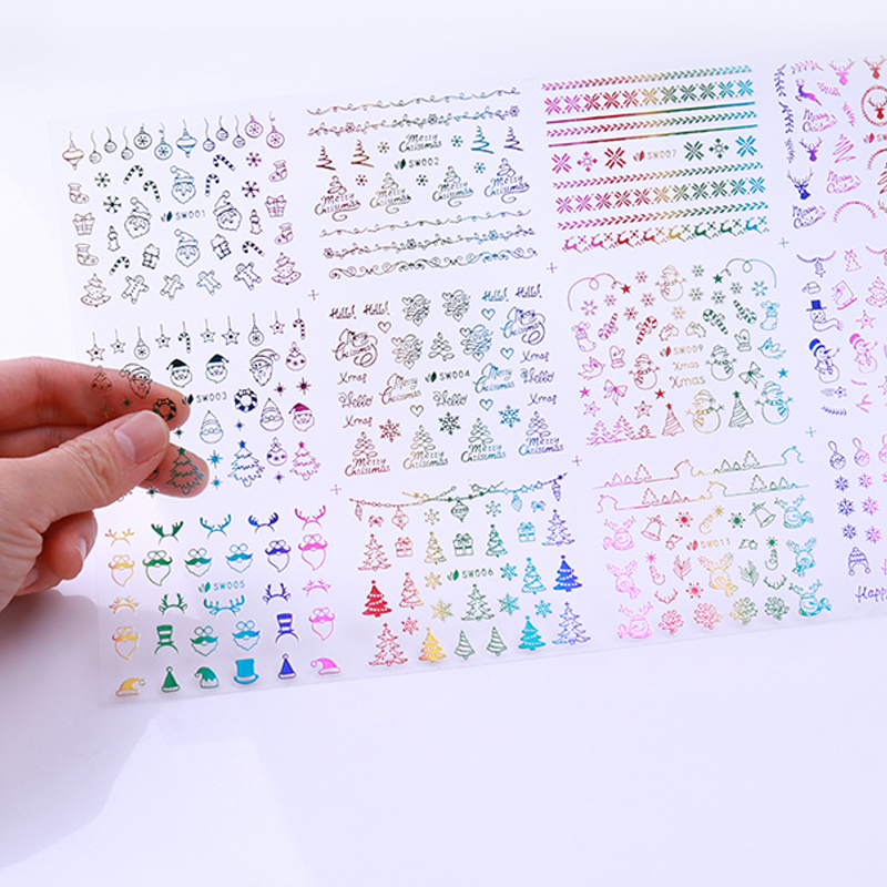 Image 5 - 1 Big Sheet Christmas Snowflake 3D Nail Sticker Santa Claus Deer Pattern Adhesive Transfer Sticker Manicure Nail Art Decals-in Stickers & Decals from Beauty & Health