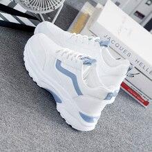 Женские кроссовки; коллекция года; модная повседневная обувь; Женская Удобная дышащая Белая обувь на плоской подошве; женские кроссовки на платформе; Chaussure Femme