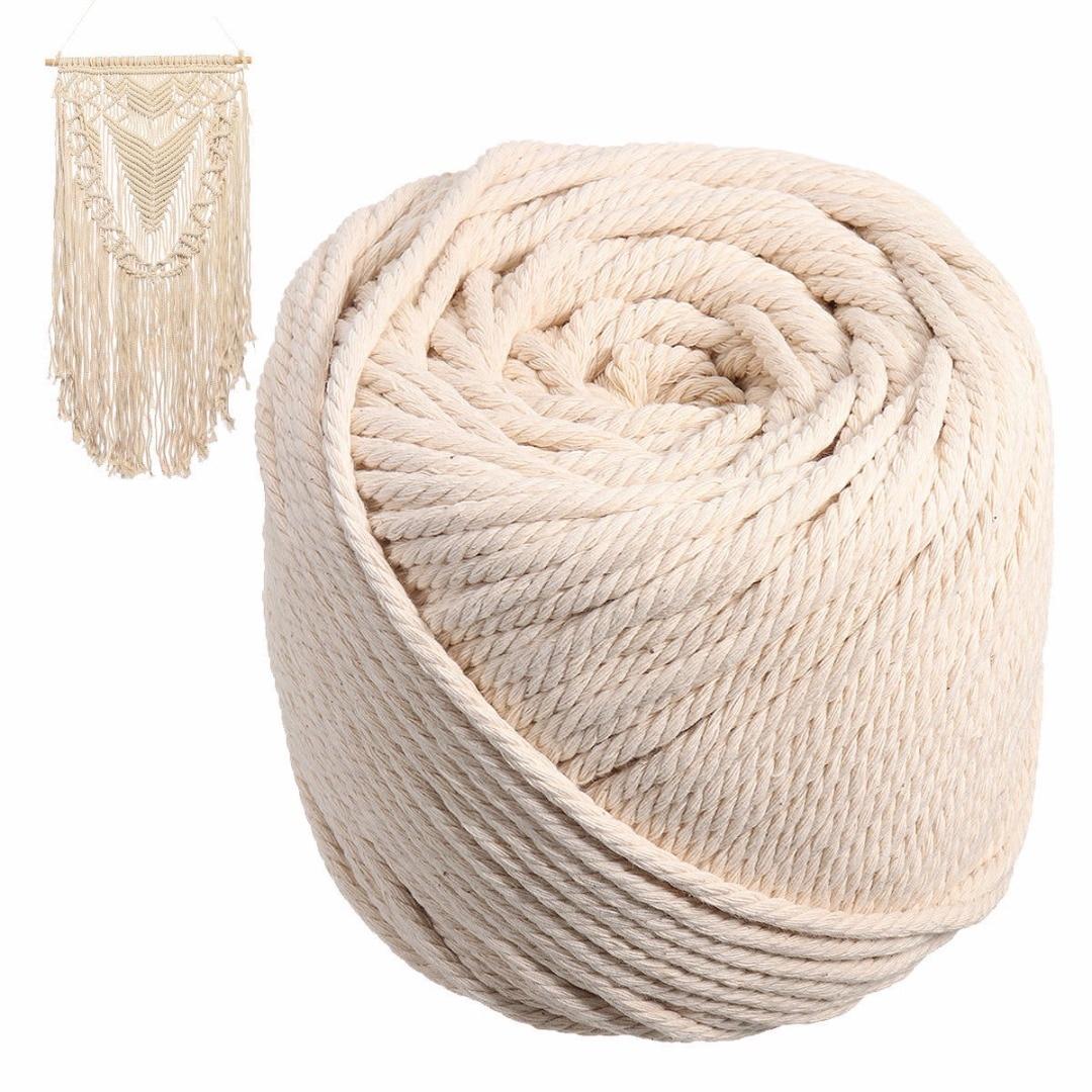 5ebd6bd4e6b8 Cuerda de cordón trenzado de algodón Beige de 5mm cuerda de macramé  artesanal bohemio 90 metros para decoración casera hecha a mano DIY Mayitr