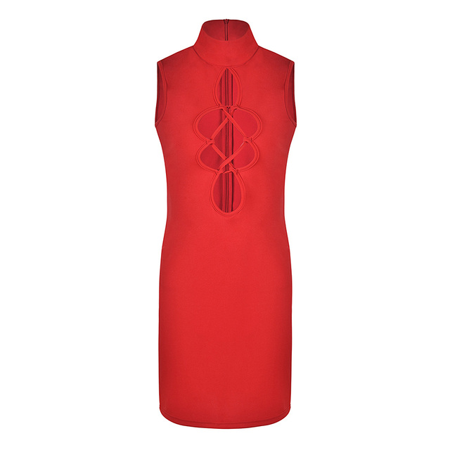 Sexy Women Bodycon Mini Dress Cutout Front High Neck Sleeveless Hollow Out Dress Solid Slim Party Vintage Dress Red/Black Ropa 4