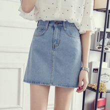 Simple Casual A-Line Denim Skirts Women Female High Waist Korean Style Pure Blue Jean Mini Skirts Plus Size XXL Summer Spring