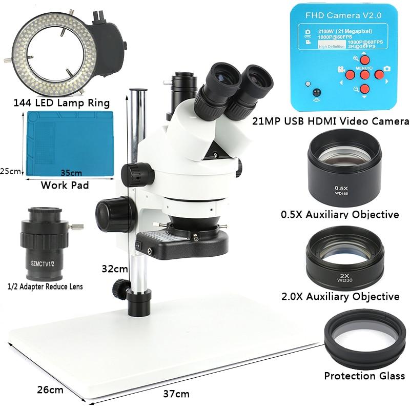 1080P 21MP 2K HDMI USB C Mount Video Camera 3.5X-90X simul-focal Continue Trinocular Microscope Phone Soldering PCB Repair Tools