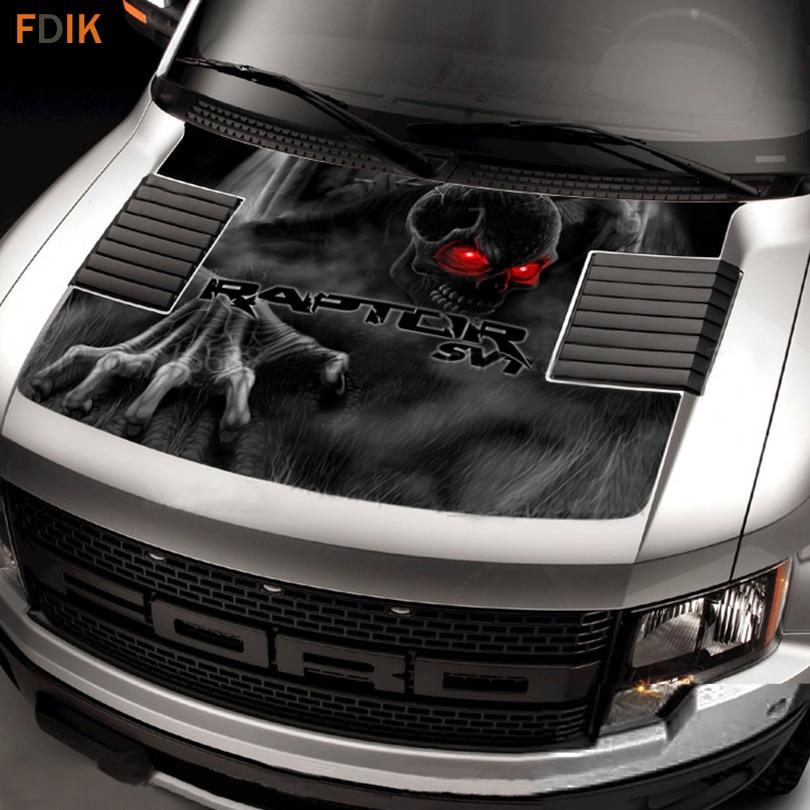 Black Large Front Head Hood Wrap Engine Skull Ghost SVT Graphics Vinyl Decals Sticker For Ford F150 F 150 Raptor 2009 2014