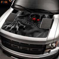 Noir grande tête avant capot Wrap moteur crâne fantôme SVT graphiques vinyle autocollants autocollant pour Ford F150 F 150 Raptor 2009 2014