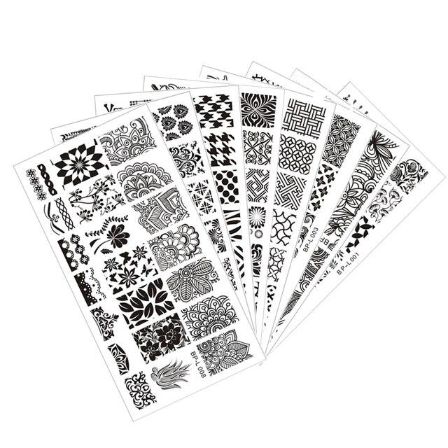 8pcs/set BORN PRETTY L001-L008 Nail Art Stamping Template Image Plates Special Design Nail Art Stamp Plate 12.5 x 6.5cm
