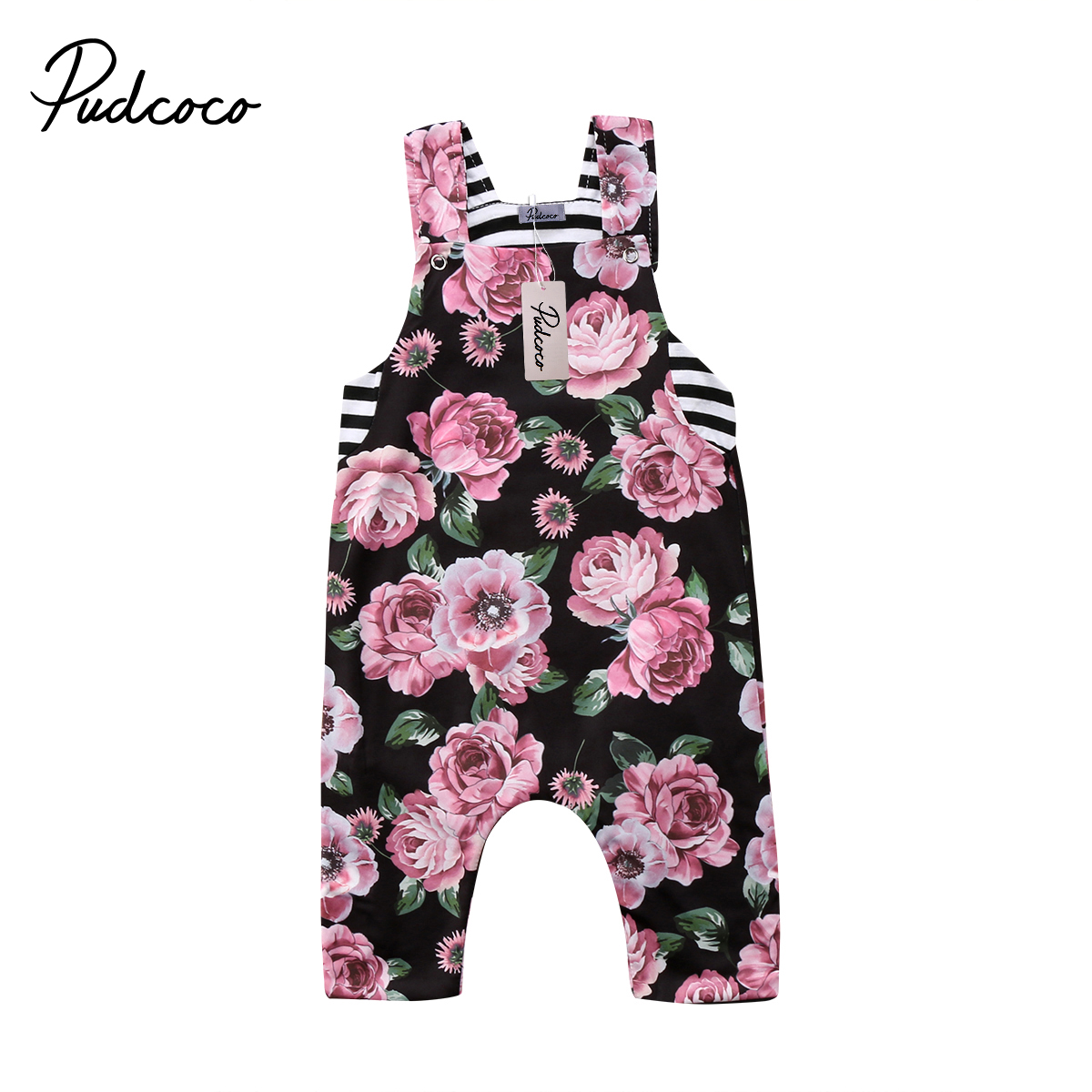 Fashion Summer Newborn Infant Kids Baby Girls Casual Sleeveless Striped Long Pants Romper Floral Jumpsuit Clothes Outfits