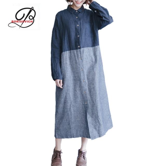 Борисович 2017 мода 2 цвета лоскутное хлопчатобумажную рубашку dress свободные случайные женщины с длинными рукавами высокого качества длинные платья m197