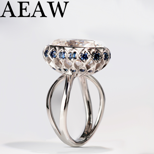 7CTW 14mm Oval Cut Engagement&Wedding Moissanite Natual Sapphire Ring Double Halo Ring Genuine 14K Gold Solid for Women