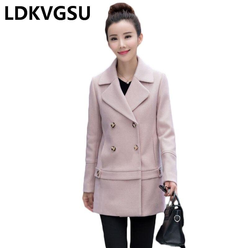 Hiver Double Wool Coat À Femme Longue Femmes Laine Coréenne Mode Dames Xxxl Manteau Nouvelles Is912 Boutonnage Rose 2018 Section Pink Automne De Pq5PRp