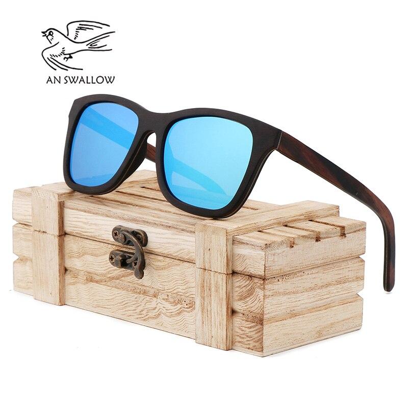 Ретро ebonypear 100% деревянные Солнцезащитные Очки Бамбуковый Деревянный чехол чисто ручной работы для вождения мужчин женщин Деревянные солнц