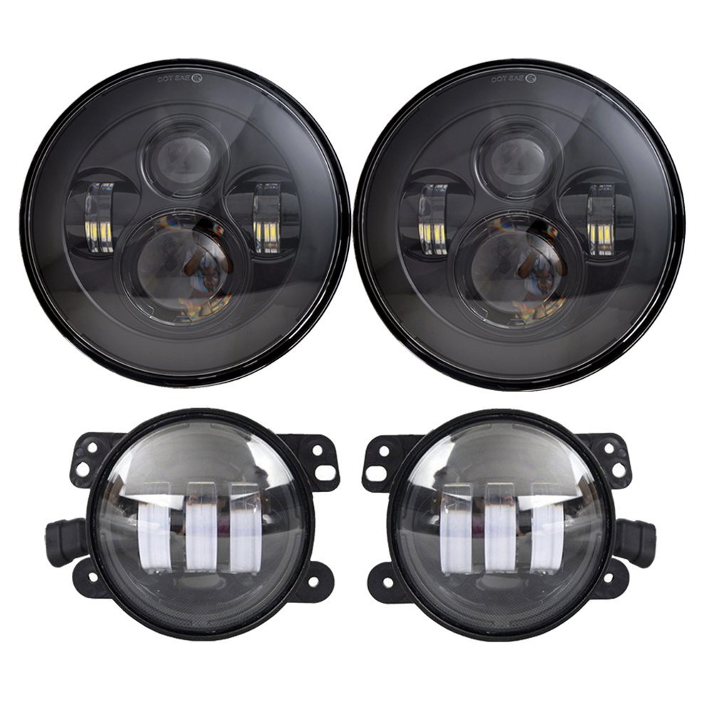7 Round LED Headlights 40W High Low Beam with 2 PCS 4 Inch Fog Lights Assembly DOT Approved for Jeep Wrangler JK LJ TJ (Black) 7 inch 80w round led headlights high