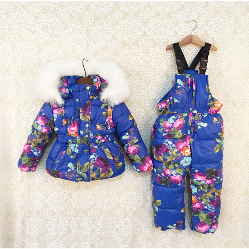 New Children Winter sports Clothes natural fur hooded baby girl warm pretty floral Ski set Suit Set kids  Ski Jacket And Pants cute puppy baby girl clothes set children hoodies 2017 winter new boy hooded cashmere sweater kids thick two piece suit