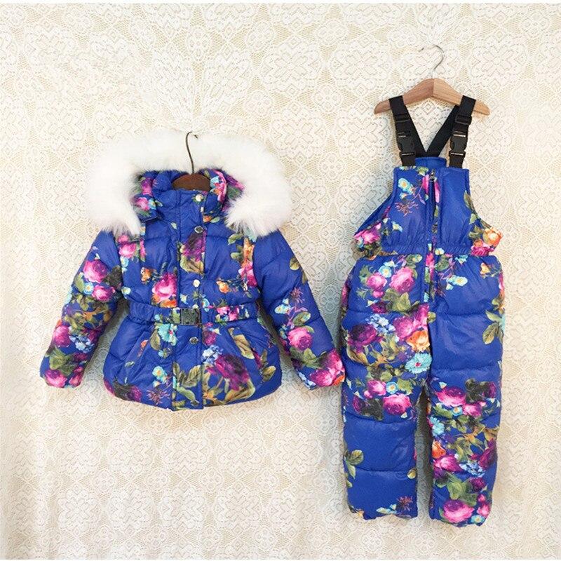 Nouveaux enfants vêtements de sport d'hiver fourrure naturelle à capuche bébé fille chaud joli floral Ski ensemble costume ensemble enfants veste de Ski et pantalon