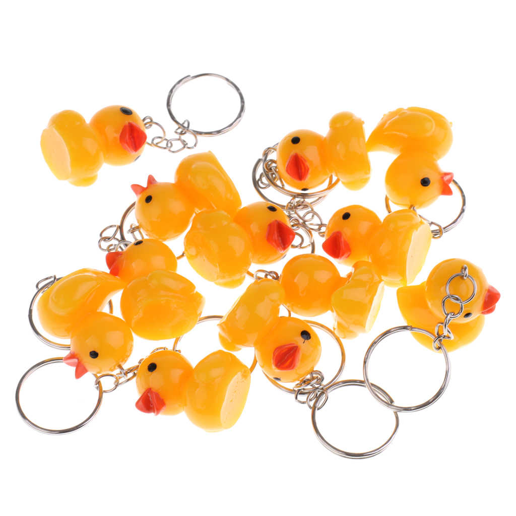 12pcs/Set Cute Yellow Duck Doll Figures Keychain Bag/Purse Keyring Pendant Car Auto Hanging Ornament