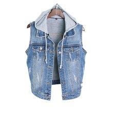 2019 Spring and Summer Women Large Size Coat Vest Sleeveless Slim Feminino Denim Hooded Clothes