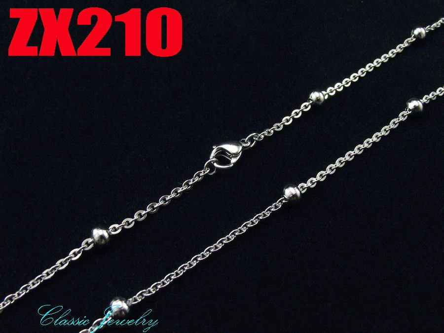 50 meters 4mm inlay ball cross chain stainless steel necklace women fashion jewelry chains Sweater chain ZX210