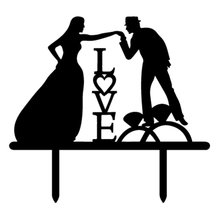 Pengantin Pria Pengantin Wanita Pernikahan Dengan Cat Kue Bendera