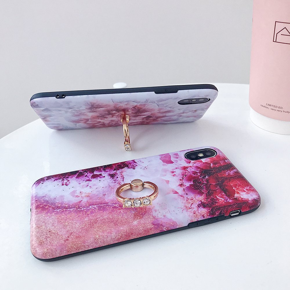 LOVECOM Retro Floral Ring Stand Phone Case For iPhone Models 37