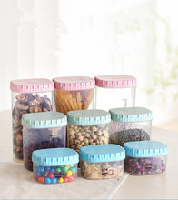 1PC Home Food Storage Box Container Wheat Straw Plastic Pot Kitchen Tank Grain Sealed Jar OK 0432