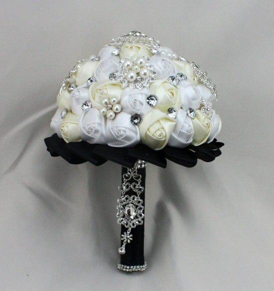 Белый Кот Черный Роскошный Горный Хрусталь Искусственный Свадебные Букеты Рамо Novia Mariage Невесты Цветок Аксессуары