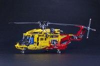 High Tech rey de direccion 1056unids/set modelo de helicoptero de rescate 3D ABS plastico del bloque hueco bahia como regalo