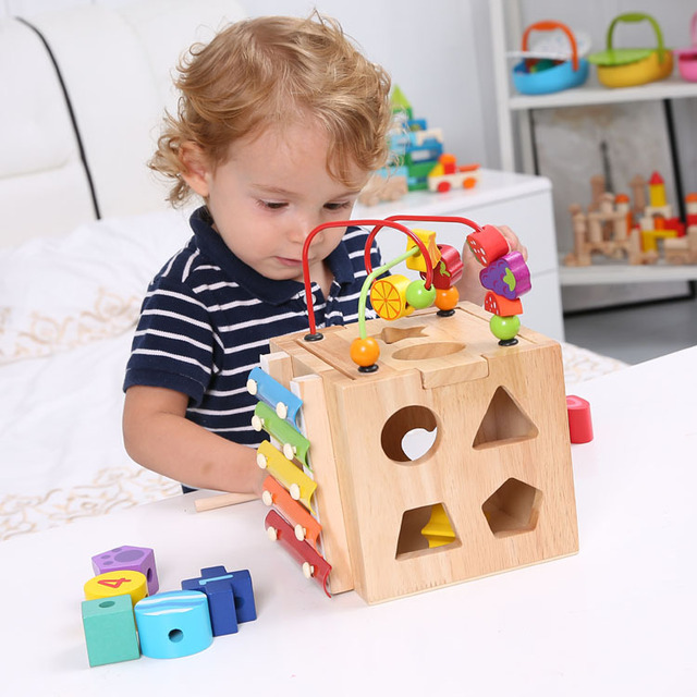 Kids Toddler Baby Colorful Wooden Around Beads toy box ...