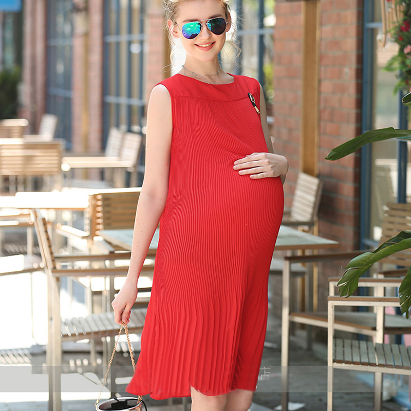 Summer Pregnant Woman Chiffon Dress Black Red o-neck Keen-length Maternity Vestido Pregnancy Clothes Plus Size Chiffon Clothing ロング ワンピース マタニティ