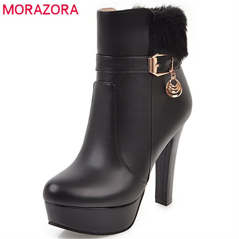 MORAZORA 2018 hot sale big size 34 43 ankle boots women round toe autumn winter boots high heels platform shoes woman pink