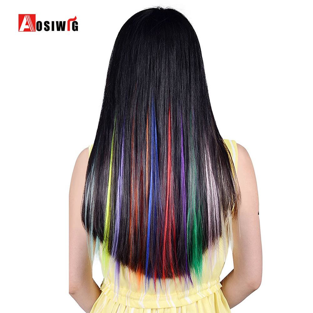 AOWIG 22 tum Straight Colored Clip i Hair Extensions Fashion - Syntetiskt hår