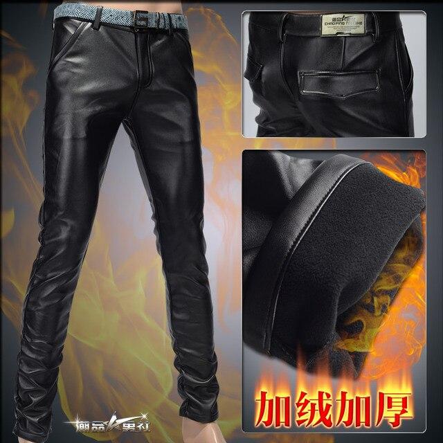 2014 Nuevos hombres de la manera pantalones de cuero caliente grueso de los hombres de moda casual pantalones lápiz pantalones de alta calidad de cuero de LA PU